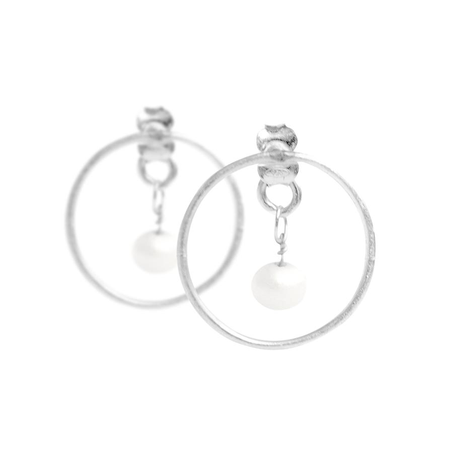 NULA Сребърни обеци с перла