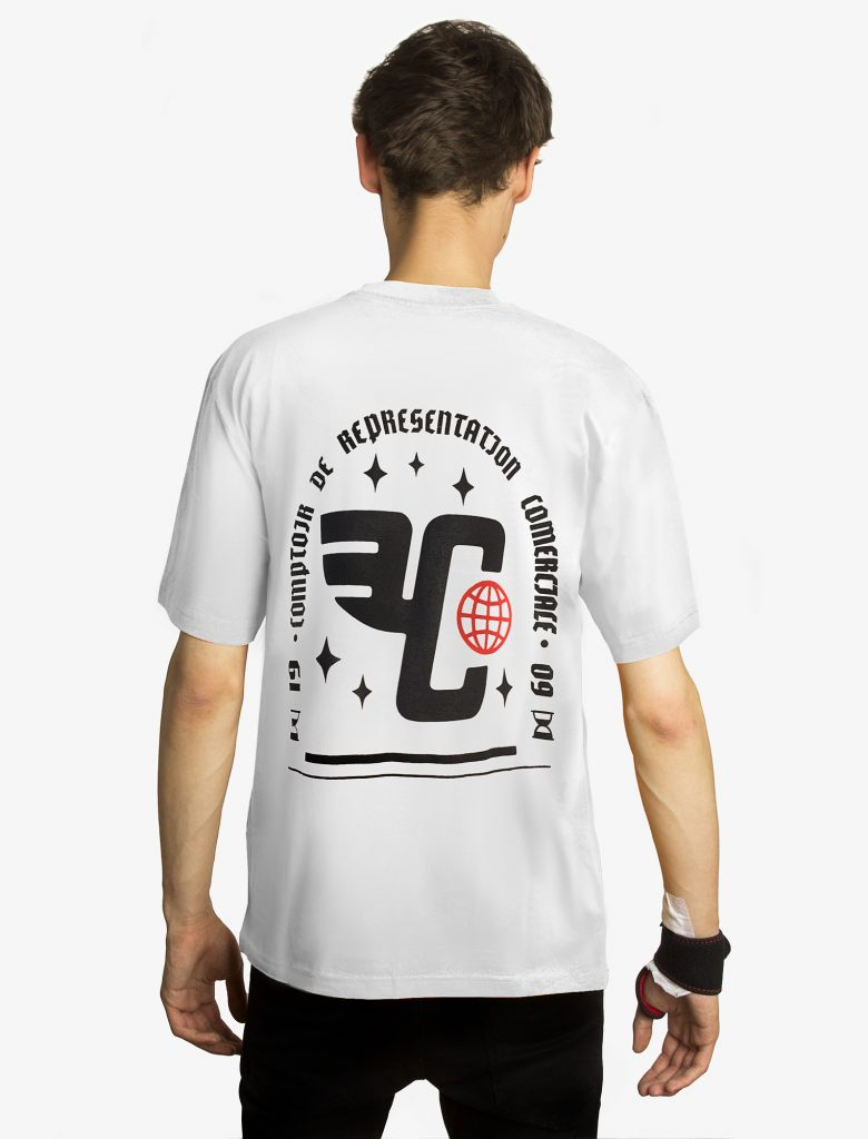 """Бяла тениска с лого """"Кореком"""" на гърба"""