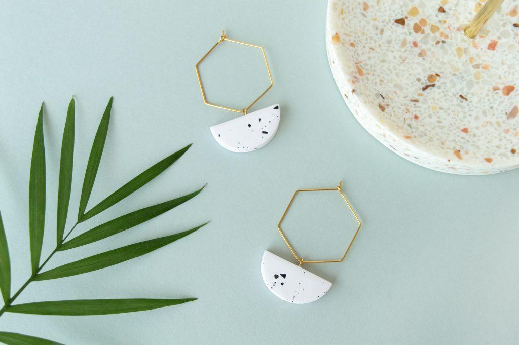Forma Handmade | White Speckled Hexagon Hoops Earrings