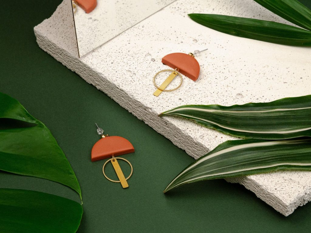Forma Handmade | Bohemian Clay and Brass Earrings in Terracotta