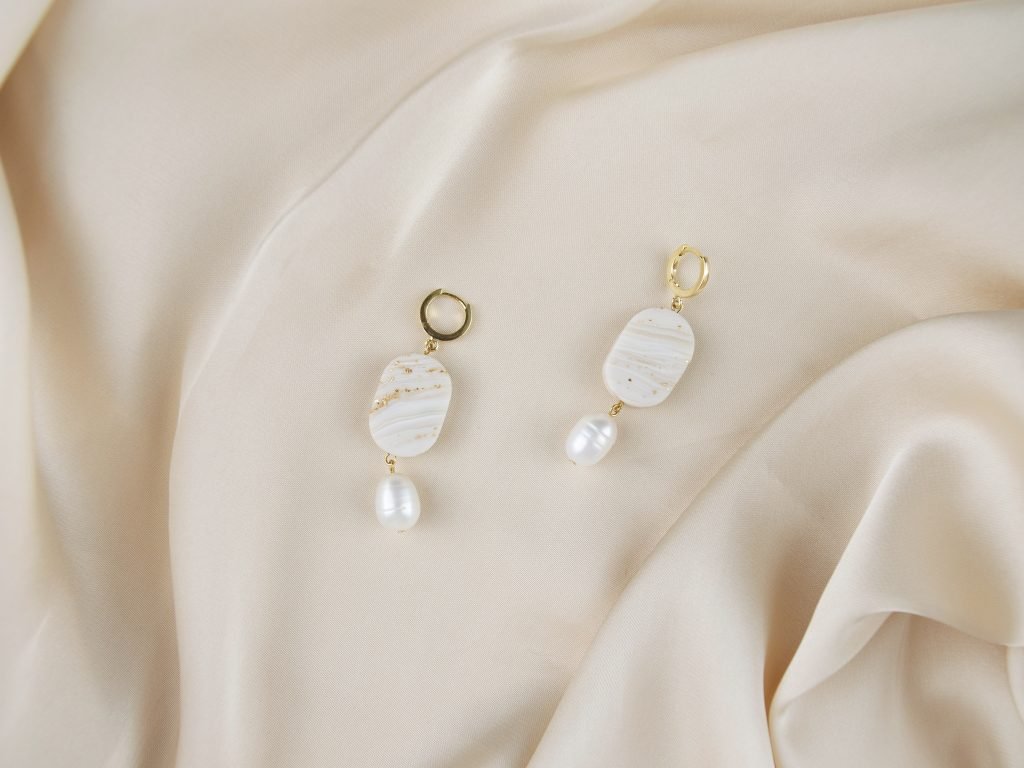 Forma Handmade   Faux Marble Transparent Agate Earrings with Freshwater Pearls